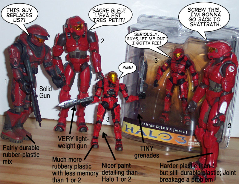 Red Spartans and EVA plastic comparison